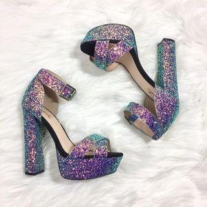 Qupid Platform Heels Glitter Iridescent Mermaid 6